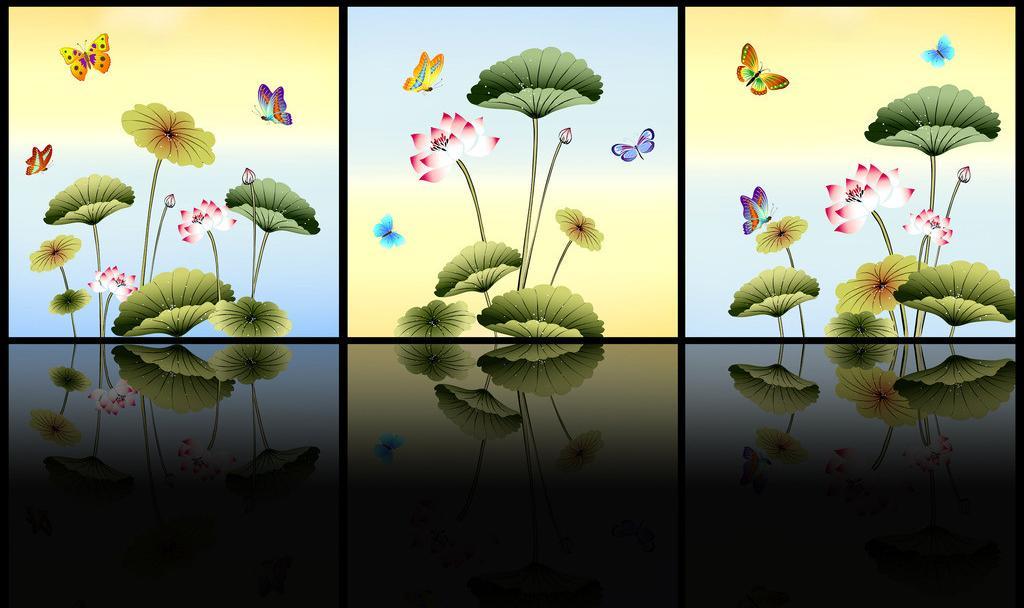 Tranh tứ quý hoa sen sn-1677