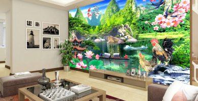 Mẫu tranh dán tường 3d phòng khách ai nhìn cũng mê