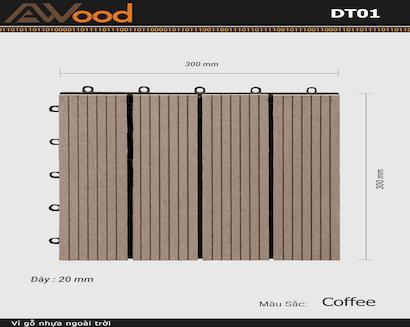 Vỉ gỗ lót sàn AWood DT01-4 Coffee