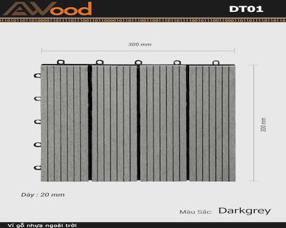 Vỉ gỗ lót sàn AWood DT01-4 Darkgrey