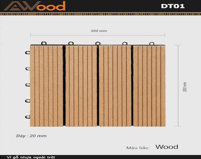 Vỉ gỗ lót sàn AWood DT01-4 WOOD